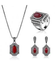 Red Gems Inlaid Vintage Fashion Jeweled Fashion Women Wholesale Jewelry Set