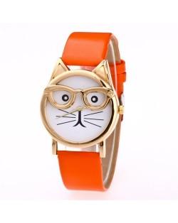 Cute Golden Glasses Cat Fashion Wrist Watch - Orange