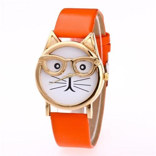 Cute Golden Glasses Cat Fashion Wrist Watch