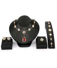 Red Gem Charm 4pcs Gorgeous Bridal Fashion Women Wholesale Jewelry Set