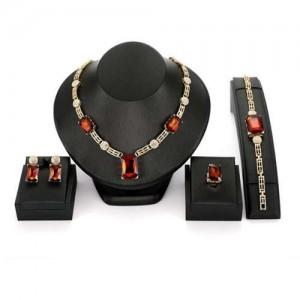 Red Gems Embellished U.S. High Fashion Women Alloy Wholesale Costume Jewelry Set