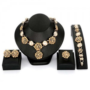 Red Square Gems Embellished 4pcs Banquet Women Wholesale Fashion Jewelry Set