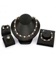 Glistening Rhinestone Inlaid U.S. High Fashion Jeweled Wholesale Jewelry Set