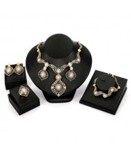 Hollow Waterdrop Charms Design U.S. High Fashion Wholesale Costume Jewelry Set