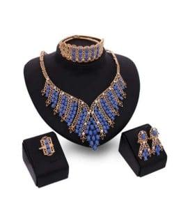 Blue Gem Beads Embellished U.S. Fashion 4pcs Women Wholesale Jewelry Set