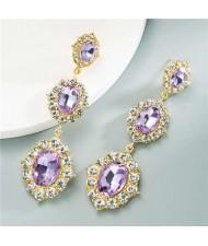 Glass Gems Embellished Vintage Fashion Women Dangle Earrings - Violet