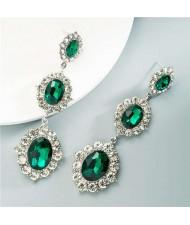 Glass Gems Embellished Vintage Fashion Women Dangle Earrings - Green