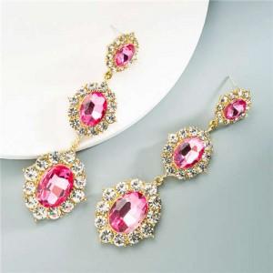 Glass Gems Embellished Vintage Fashion Women Dangle Earrings - Pink