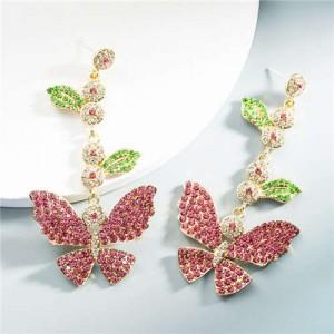 Baroque Fashion Shining Butterfly Luxurious Women Dangle Earrings - Pink