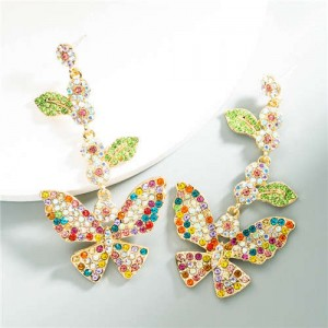 Baroque Fashion Shining Butterfly Luxurious Women Dangle Earrings - Multicolor