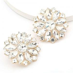 Super Shining Rhinestone Flower Design U.S. High Fashion Women Stud Wholesale Earrings - White