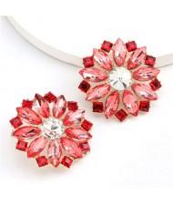 Super Shining Rhinestone Flower Design U.S. High Fashion Women Stud Wholesale Earrings - Red