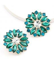 Super Shining Rhinestone Flower Design U.S. High Fashion Women Stud Wholesale Earrings - Green