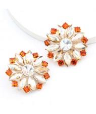 Super Shining Rhinestone Flower Design U.S. High Fashion Women Stud Wholesale Earrings - Golden