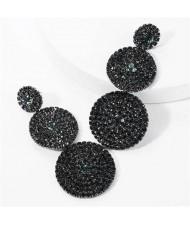 Rhinestone Rounds Cluster Design High Fashion Women Wholesale Dangle Earrings - Black