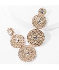 Rhinestone Rounds Cluster Design High Fashion Women Wholesale Dangle Earrings - Golden