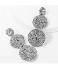 Rhinestone Rounds Cluster Design High Fashion Women Wholesale Dangle Earrings - Silver