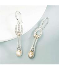 Fork and Spoon Asymetrical Rhinestone Women Wholesale Earrings - Champagne
