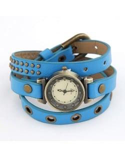 Vintage Rivets Studs Inlaid Blue Leather Bracelet Watch