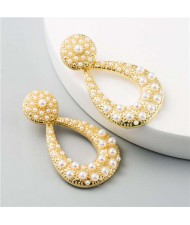 Rhinestone Embellished Hollow Waterdrop Design U.S. High Fashion Women Earrings - Pearl