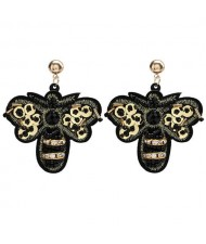 European Style Black Bee Design Vintage Fashion Women Stud Earrings