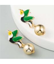 Enamel Flying Birds U.S. High Fashion Women Wholesale Earrings - Green