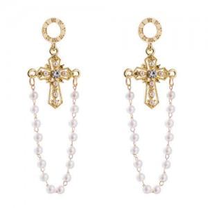 Golden Cross with Pearl Tassel U.S. Fashion Women Wholesale Earrings