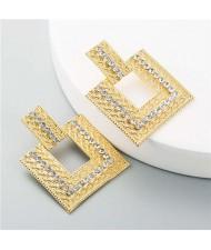 Rhinestone Embellished Hollow Square Design Women Wholesale Stud Earrings - White