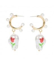 Rose Printed Pearl Dangle Semi-hoop U.S. Fashion Women Wholesale Earrings