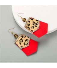 Irregular Shape Leopard Prints Tassel Design U.S. High Fashion Women Earrings - Red