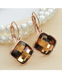 Champagne Square Austrian Crystal Rose Gold Rimmed Stud Earrings