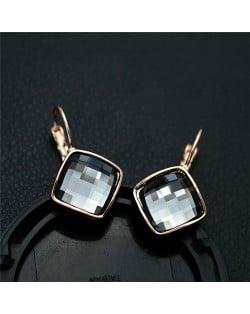 Gray Square Austrian Crystal Rose Gold Rimmed Stud Earrings