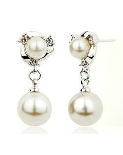 Elegant Pearl Fashion with Rhinestones Inlaid Drop Earrings - Platinum
