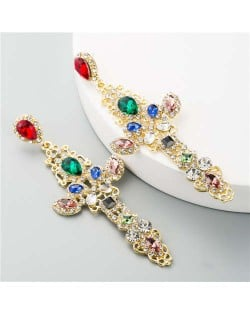 Colorful Rhinestone Embellished U.S. Vintage Cross Women Wholesale Dangle Earrings