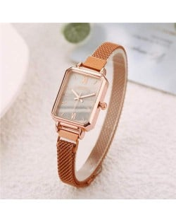 Square Index Rose Gold High Fashion Design Stainless Steel Women Wholesale Wrist Watch - White