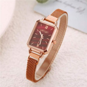 Square Index Rose Gold High Fashion Design Stainless Steel Women Wholesale Wrist Watch - Red