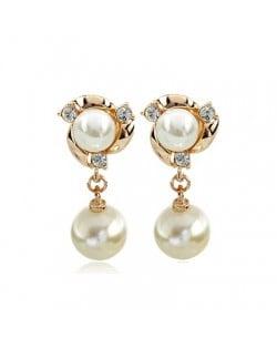 Elegant Pearl Fashion with Rhinestones Inlaid Drop Earrings - Rose Gold