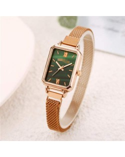 Square Index Rose Gold High Fashion Design Stainless Steel Women Wholesale Wrist Watch - Green