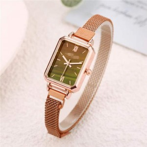 Square Index Rose Gold High Fashion Design Stainless Steel Women Wholesale Wrist Watch - Brown