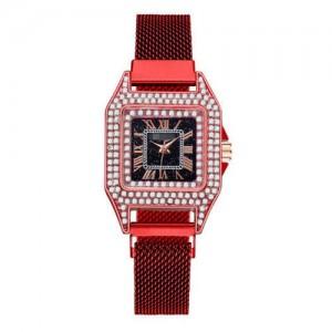 Rhinestone Embellished Square Index U.S. Fashion Women Magnetic Wrist Wholesale Watch - Red