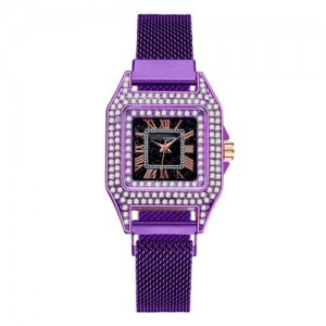 Rhinestone Embellished Square Index U.S. Fashion Women Magnetic Wrist Wholesale Watch - Purple