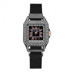 Rhinestone Embellished Square Index U.S. Fashion Women Magnetic Wrist Wholesale Watch - Black