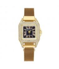 Rhinestone Embellished Square Index U.S. Fashion Women Magnetic Wrist Wholesale Watch - Golden
