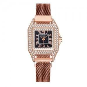 Rhinestone Embellished Square Index U.S. Fashion Women Magnetic Wrist Wholesale Watch - Rose Gold