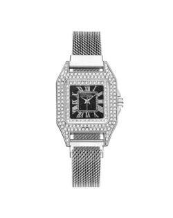 Rhinestone Embellished Square Index U.S. Fashion Women Magnetic Wrist Wholesale Watch - Silver
