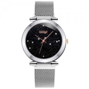 Starry Night Index Simple Fashion Magnetic Wrist Watch - Silver