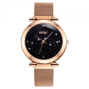 Starry Night Index Simple Fashion Magnetic Wrist Watch - Rose Gold