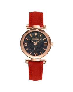 Classic Starry Night Index Slim Style Women Leather Wrist Watch - Red