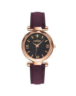 Classic Starry Night Index Slim Style Women Leather Wrist Watch - Purple
