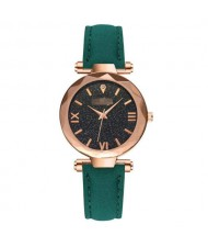 Classic Starry Night Index Slim Style Women Leather Wrist Watch - Green